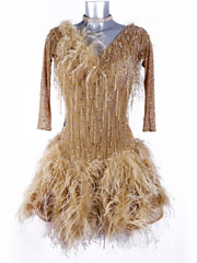 Palomino latin ostrich beading fringes dance dress