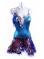 Meteor electic tursuoise blue latin dance dress design size XS/S